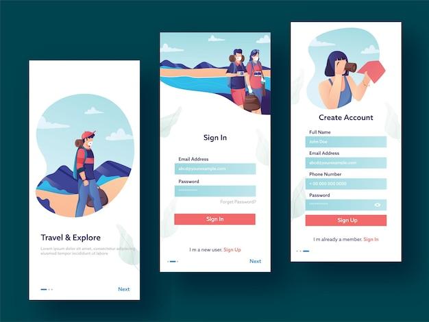 Interfaccia utente dell'app mobile, ux, set gui di viaggi di registrazione utente
