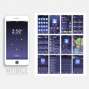 App mobile con interfaccia blu scuro
