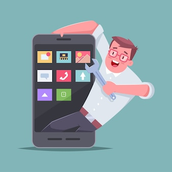 Sviluppatore di applicazioni mobili. di un uomo con una chiave inglese e uno smartphone.