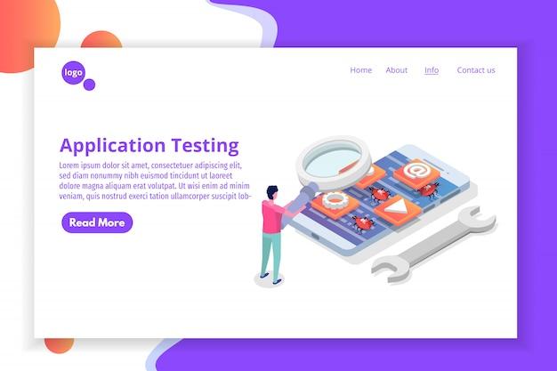 Isometrica del processo di sviluppo, test e prototipazione di applicazioni mobili. creazione dell'interfaccia dell'app.