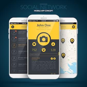 Concetto di interfaccia utente dell'applicazione mobile con diversi elementi web e icone isolate