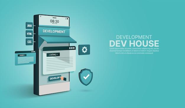 Sito web di applicazioni mobili concetto di codifica e programmazione della società di sviluppo software