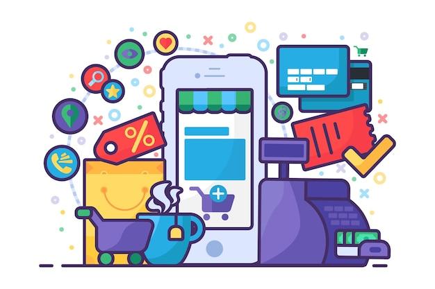 Segni di app mobili. affari nel concetto di smartphone. applicazione web per la gestione aziendale, lo shopping online e l'e-commerce. smart phone moderno con icone web su sfondo bianco. illustrazione vettoriale