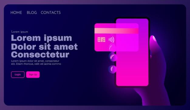 App mobile banking e pagamento elettronico a mano con smartphone paga con carta di credito