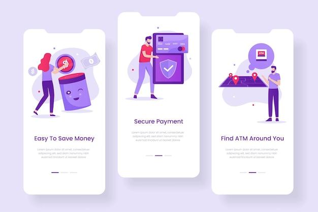 Design dello schermo dell'app mobile banking. illustrazioni per siti web, landing page, applicazioni mobili, poster e banner.