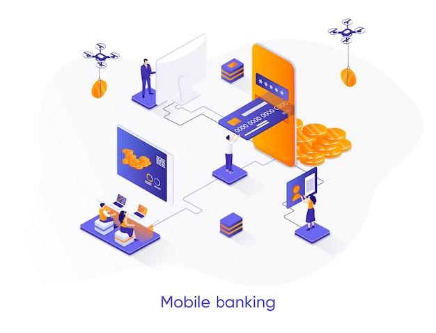 Illustrazione isometrica di mobile banking con personaggi di persone