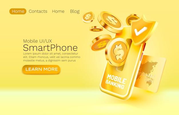 Servizio di mobile banking pagamento finanziario smartphone tecnologia schermo mobile display mobile luce ve...