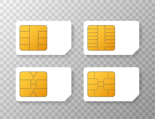 Cellulare cellulare sim card chip isolato su sfondo. illustrazione di riserva di vettore.
