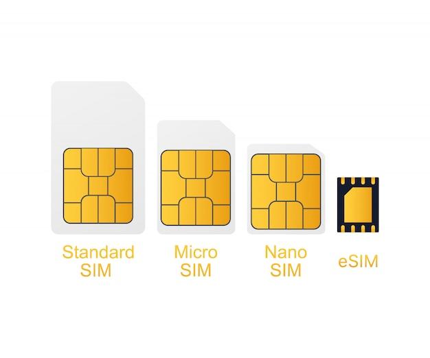 Chip mobile della carta sim del telefono cellulare isolato sopra. illustrazione.