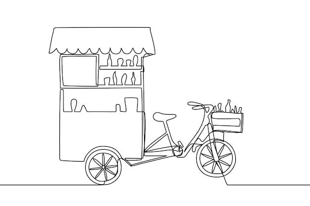 Illustrazione vettoriale di bancarella di caffè mobile o camion di cibo line art