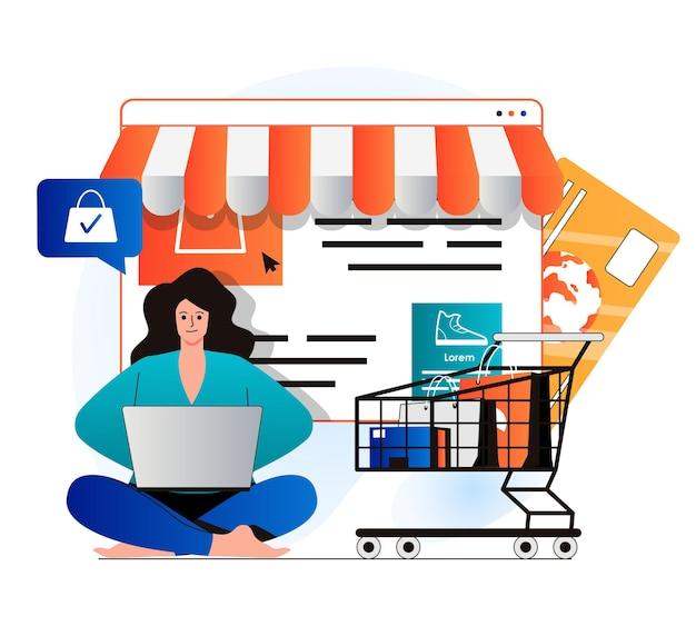 Concetto di commercio mobile in un moderno design piatto la donna fa acquisti redditizi in negozio