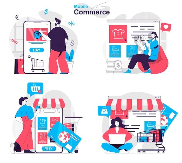Set di concetti di commercio mobile gli acquirenti scelgono i vestiti acquistando e pagando online