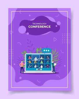 Illustrazione video conferenza mobile