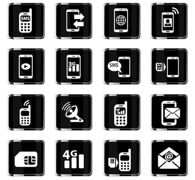 Icone web di connessione mobile per la progettazione dell'interfaccia utente