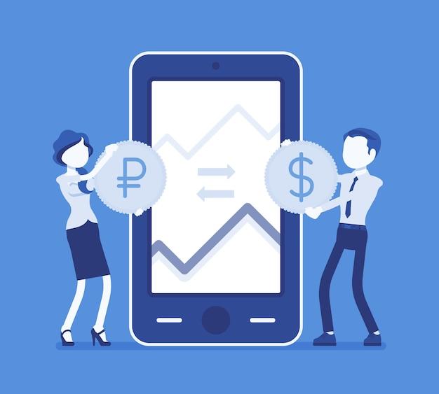 Cambio valuta mobile, coppia dollaro e rublo. uomo, donna sullo schermo del telefono gigante con monete, app per dispositivi mobili. economia e concetto di finanza aziendale. illustrazione vettoriale, personaggi senza volto