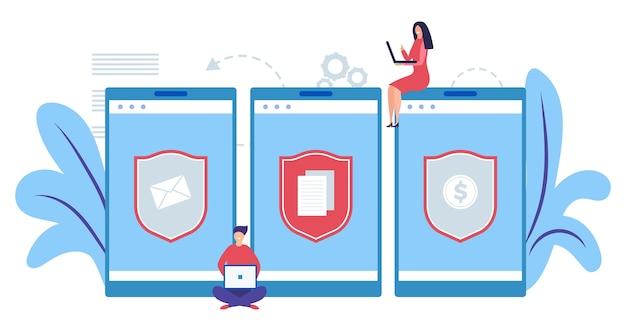 Concetto di protezione dei dati mobili. concetto di sicurezza internet. proteggi le informazioni, l'illustrazione dei soldi. sviluppatori di software di protezione per computer piatti. protezione della sicurezza, rete di protezione della privacy