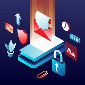 Illustrazione della sicurezza dei dati mobili