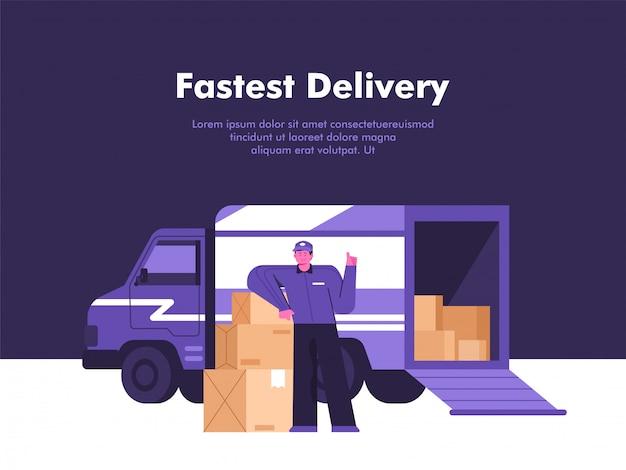Illustrazione mobile di concetto di servizio di distribuzione