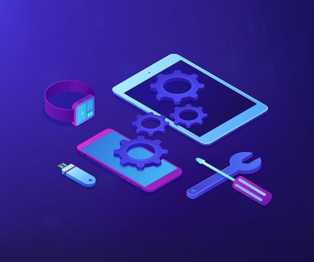 Illustrazione isometrica di concetto di riparazione del dispositivo mobile.