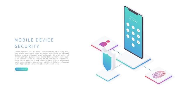 Sicurezza del dispositivo mobile in un'illustrazione vettoriale isometrica piatta