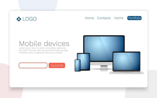 Dispositivi mobili, concetto di pagina di destinazione. illustrazione vettoriale