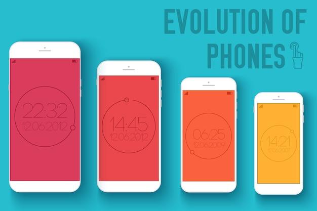 Dispositivi elettronici mobili su priorità bassa di concetto di stile piano