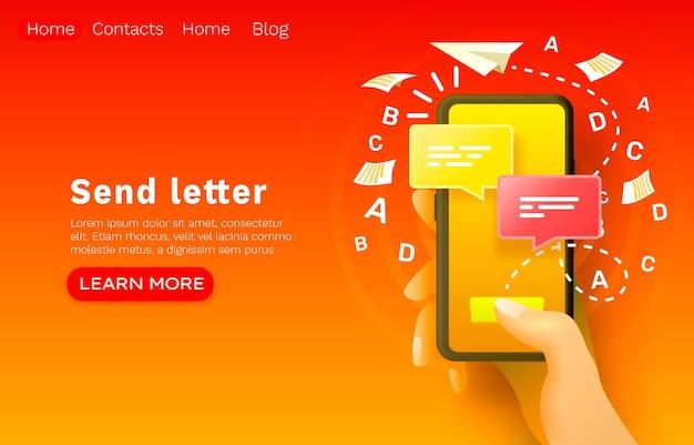 Messaggio e-mail mobile, chat internet, design banner sito web.