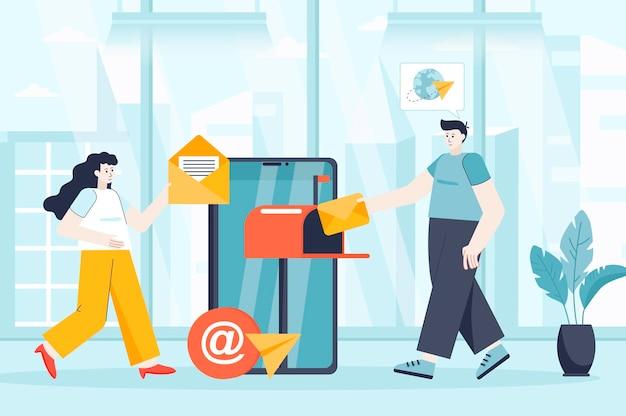 Concetto di servizio di posta elettronica mobile nell'illustrazione design piatto di personaggi di persone per la pagina di destinazione