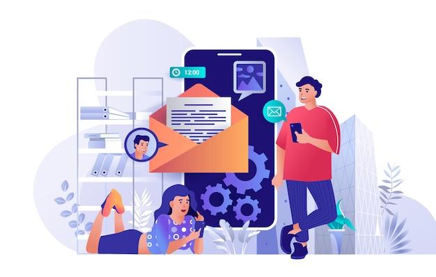 Illustrazione di concetto di design piatto del servizio di posta elettronica mobile dei caratteri delle persone