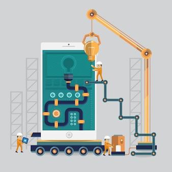 Ingegneria mobile al successo con il potere con il processo energetico dell'idea