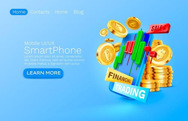 Servizio di trading finanziario mobile pagamento finanziario smartphone tecnologia schermo mobile display mobile