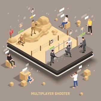 Gioco mobile equipaggiamento per armi extra app multiplayer giocatori che controllano operazioni speciali fuoco squadra tiro illustrazione isometrica