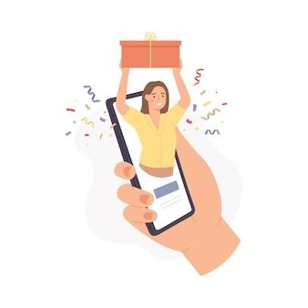 Servizio regalo mobile. la donna tiene la confezione regalo sullo schermo del telefono, acquista il presente nel negozio online digitale, l'app per la consegna dei pacchi, il concetto vettoriale. ordinare su internet. personaggio femminile che riceve un regalo Vettore Premium