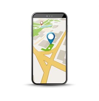 Applicazione di navigazione gps mobile. applicazione vettoriale di mappe 3d per app per smartphone con percorso gps..