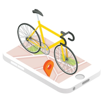 Icona di vettore di navigazione gps mobile. illustrazione 3d isometrica. bicicletta su una parte superiore del telefono cellulare con la mappa della città sullo schermo. app di monitoraggio dello smartphone.