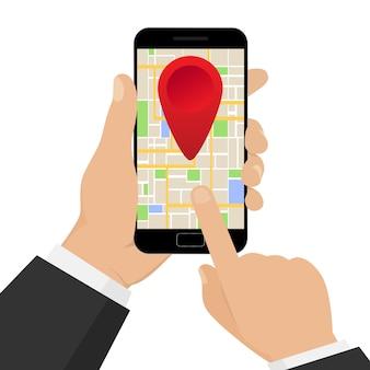 Navigazione gps mobile con mappa. mano che tiene mobile con navigazione gps. illustrazione.