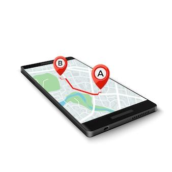 Concetto di sistema gps mobile. interfaccia dell'app gps mobile. mappa sullo schermo del telefono con indicatori di percorso.