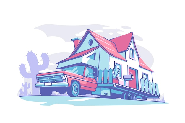 Illustrazione di vettore della costruzione di casa mobile. vivi e viaggia in stile piatto. viaggio su strada del trasporto turistico e concetto di veicoli ricreativi. isolato