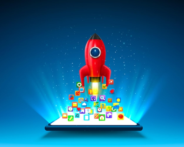 Icone mobili app razzo sullo sfondo chiaro.