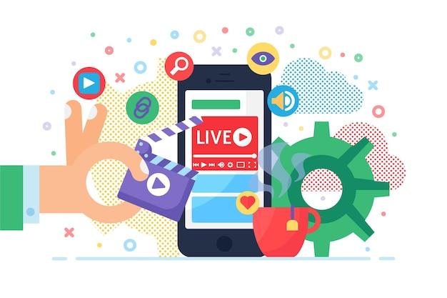 Illustrazione di concetto di streaming live mobile