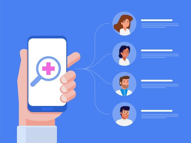 Applicazione medica mobile. concetto in linea del medico. illustrazione piatta