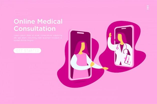 Illustrazione piana online medica mobile