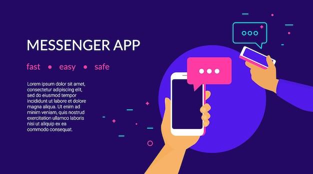 App di messaggistica mobile per inviare messaggi agli amici concept flat neon vector illustration