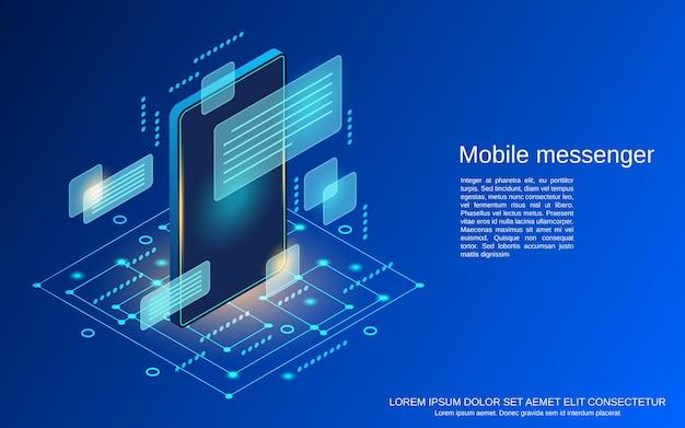 Illustrazione isometrica piana di concetto di vettore 3d del messaggero mobile