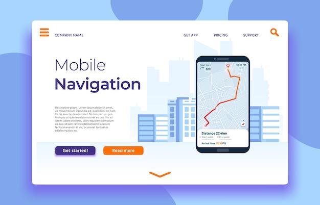 Pagina di destinazione della navigazione mobile, smartphone con applicazione gps sullo schermo
