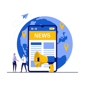 App di notizie mobili, media digitali in tutto il mondo, concetto di comunicato stampa internet con personaggi. persone in piedi vicino al grande smartphone e leggere notizie online.