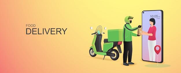 Consegna di cibo online mobile su cellulare.