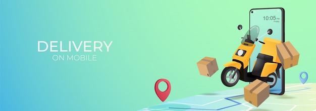 Ritiro online mobile e concetto di consegna. tracciamento dell'ordine online su dispositivo mobile. pacchetto di consegna con scooter. e-commerce