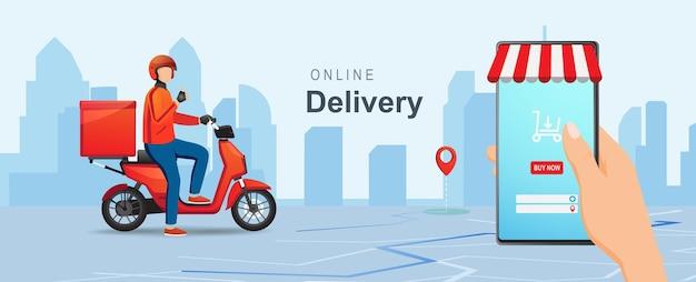 Pacchetto di consegna del concetto di consegna dello shopping online mobile con scooter