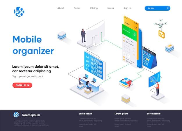 Pagina di destinazione isometrica dell'organizzatore mobile
